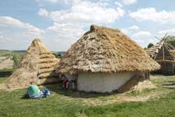 Reconstruction of neolithic houses found at Durrington Walls